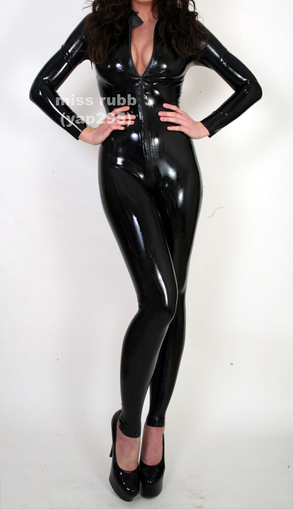 pure by m and v rubber catsuit  zip front  latex gummi