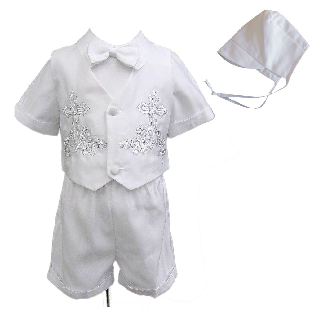 New Infant Toddler Boy Baptism Christening Suit Gown