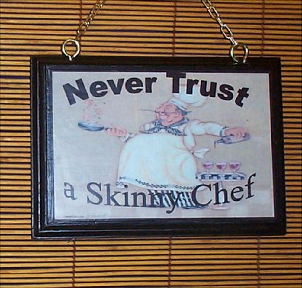 Fat Chef Wood Welcome Sign Bistro Home Decor Never Tru