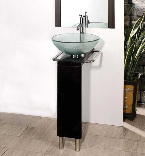 bathroom cabinet with sink and faucet 17 quot to 22 quot bathroom black glass vessel sink wood vanity 24837