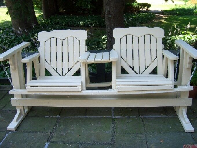 VINTAGE WOOD 2 SEAT GLIDER - FREE STANDING PORCH SWING