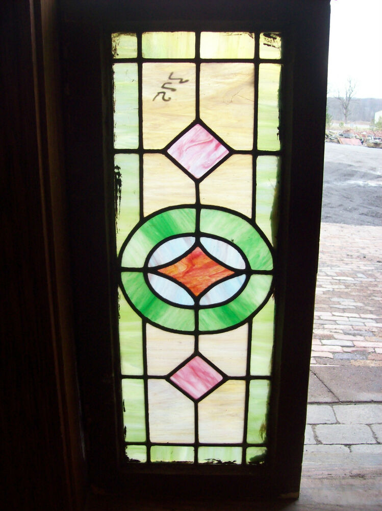 Simple arts and crafts stained glass window sg 1201 ebay for Arts and crafts glass
