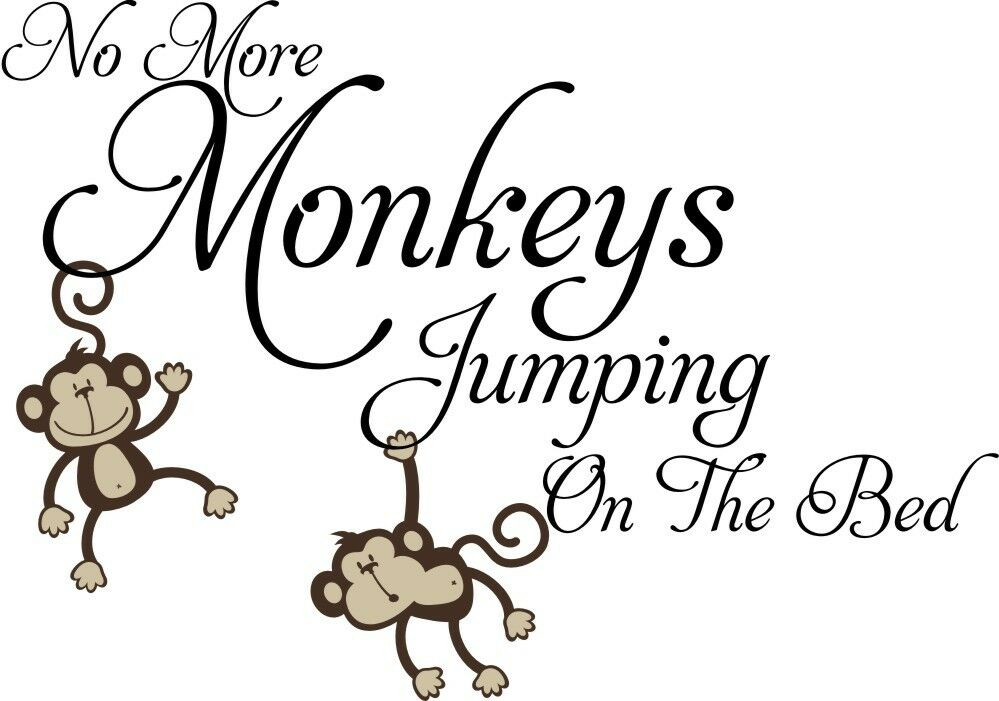 no more monkeys jumping on the bed vinyl wall decals. Black Bedroom Furniture Sets. Home Design Ideas