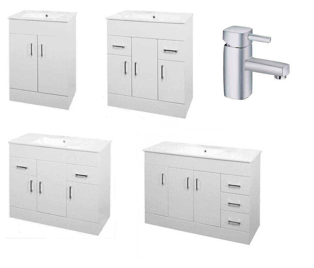 Bathroom turin minimalist white gloss vanity unit 600 750 for Bathroom cabinet 800