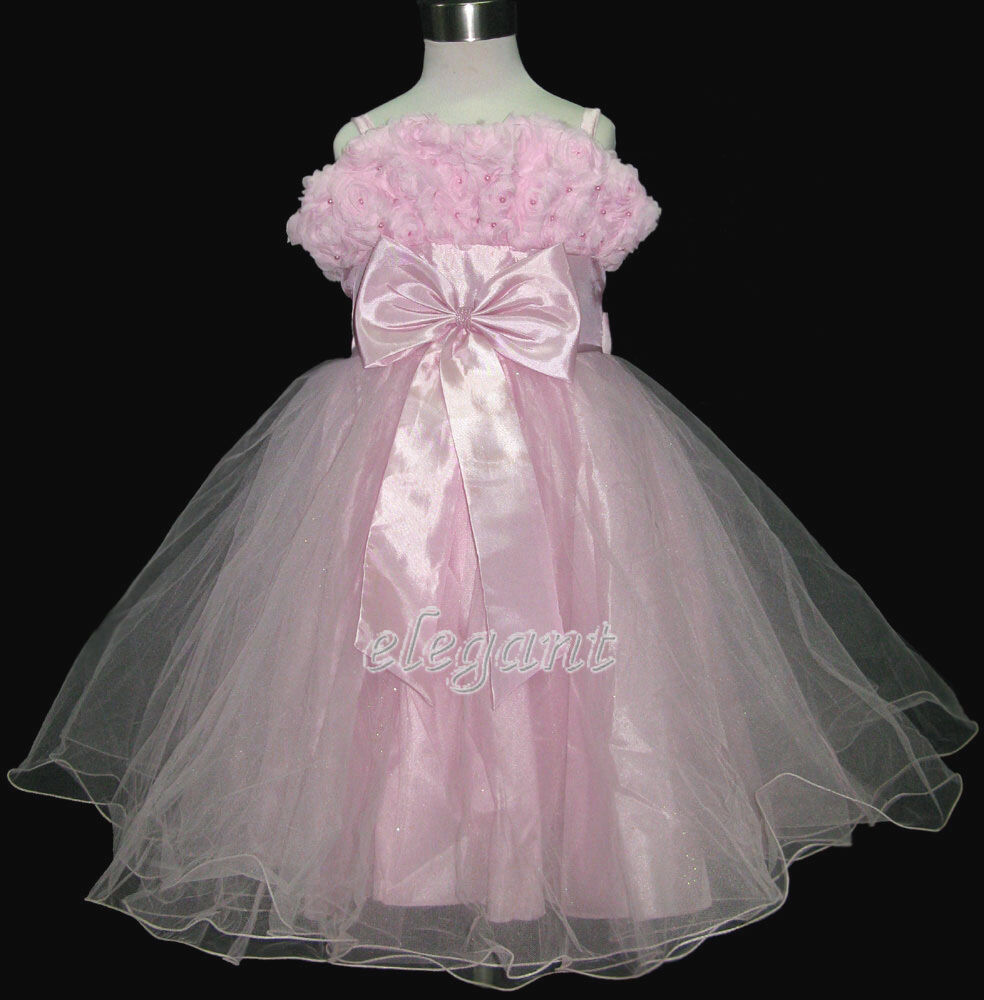 Pink Rosette Pageant Wedding Flower Girls Dress Prom Gown