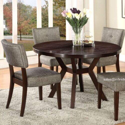 Bench Chairs Kitchen Tables And Chairs Ebay Free Kitchen: 5Pcs Modern Espresso Round Dining Table And Chair Set