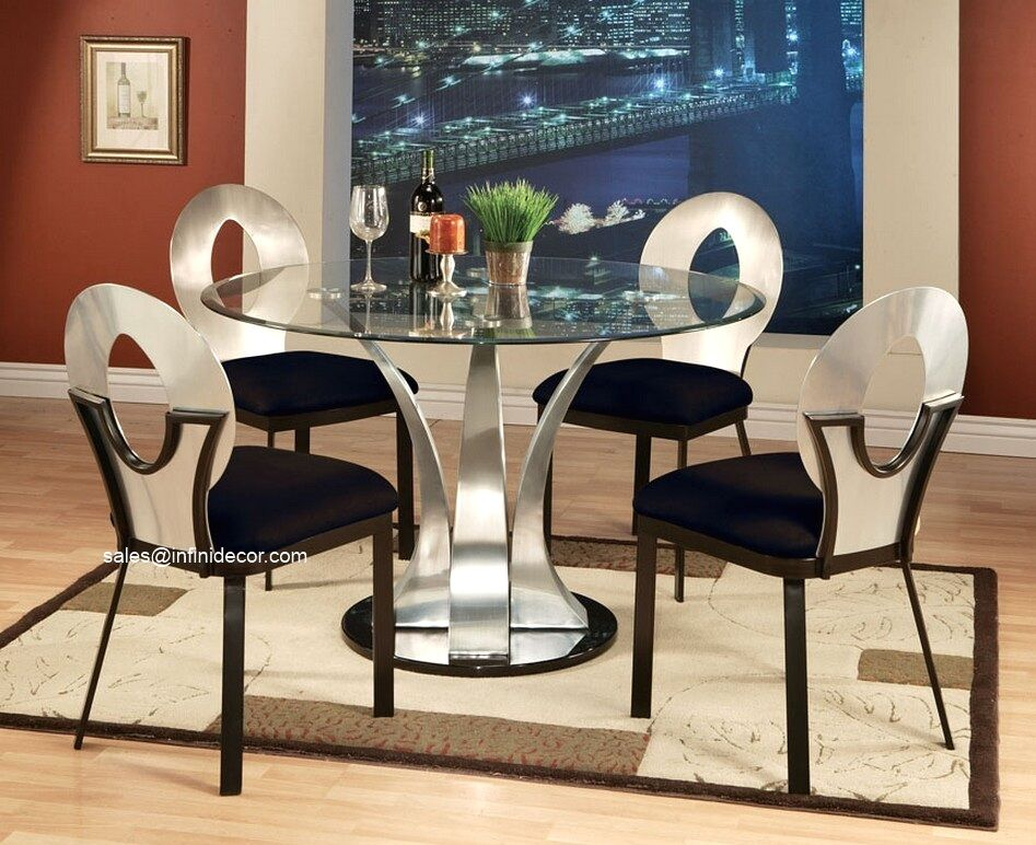 metal silver round glass top dining table and chair set modern furniture am10095 ebay. Black Bedroom Furniture Sets. Home Design Ideas