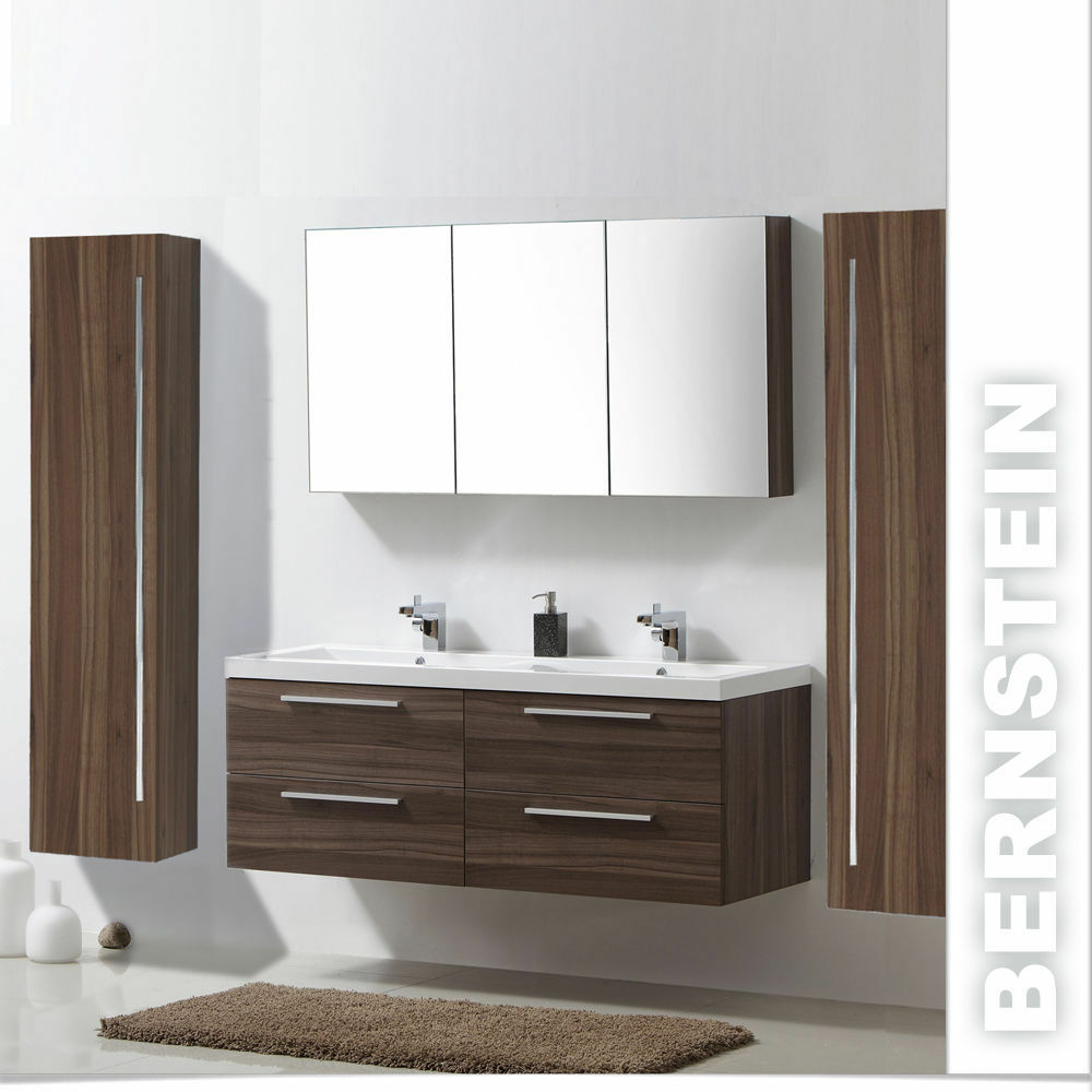 badm bel set r1442lr walnuss doppelwaschbecken spiegelschrank 2x hoher schrank ebay. Black Bedroom Furniture Sets. Home Design Ideas