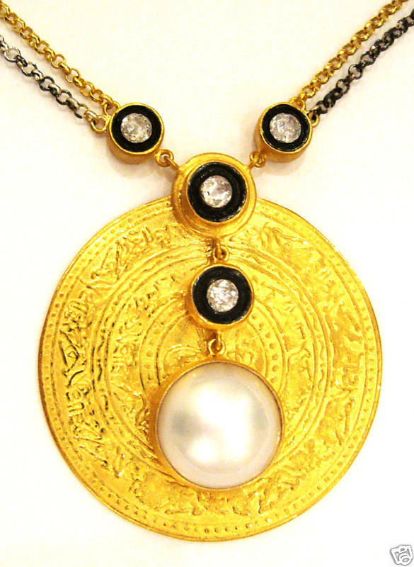 24k solid gold genuine mabe pearl necklace ebay