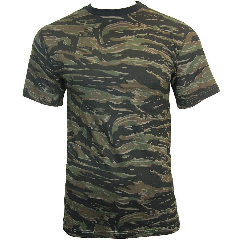 tiger stripe army camo camouflage t shirt all sizes. Black Bedroom Furniture Sets. Home Design Ideas