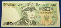 1988 POLAND 50 ZLOTYCH NOTE MINT UNC CRISP PICK 142A
