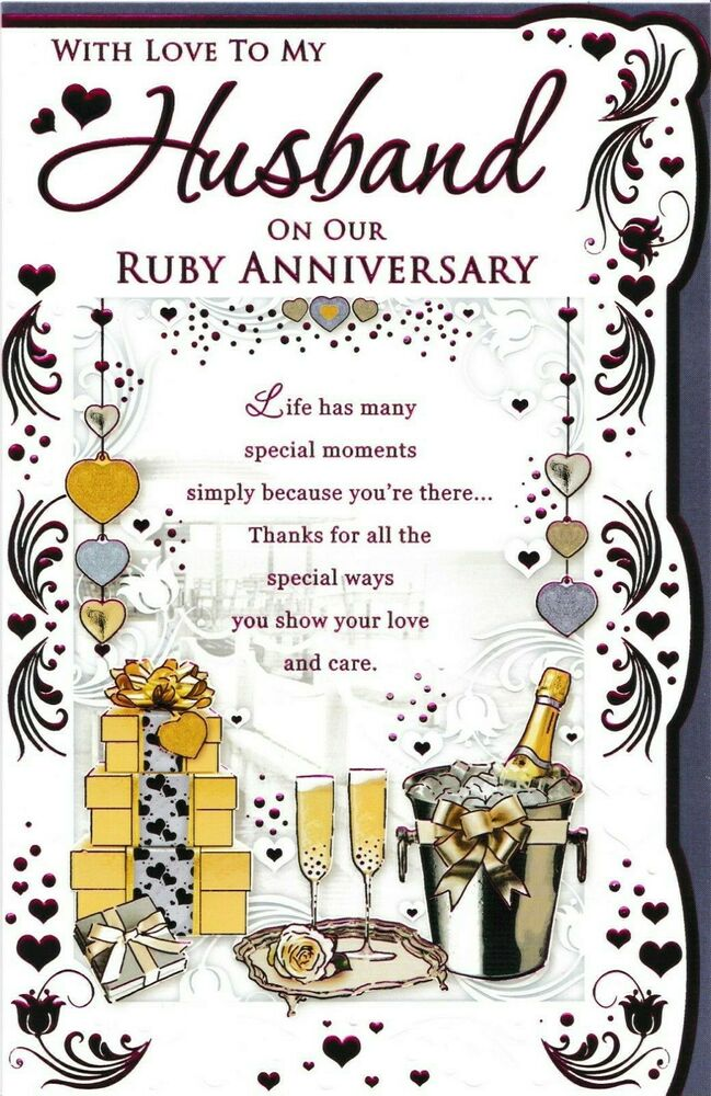To for my husband on our ruby wedding anniversary