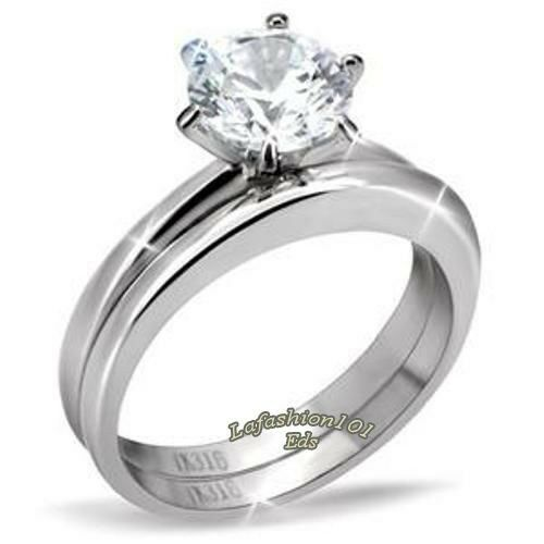 Classic 1 3ct Cz Solitaire Stainless Steel Wedding