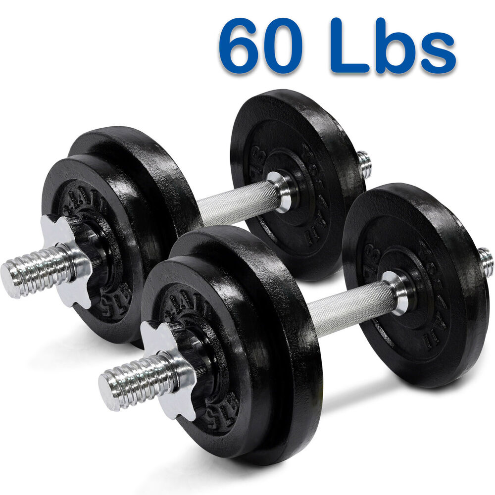 Yes4All 60 Lbs Adjustable Dumbbells Set Gym Cap Plate