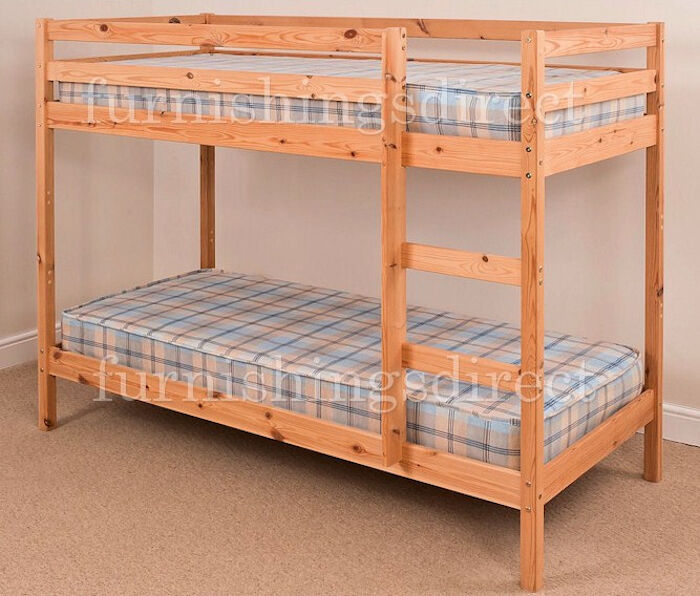 Modern Design 2ft6 Shorty Pine Bunk Bed With 2 X Sprung