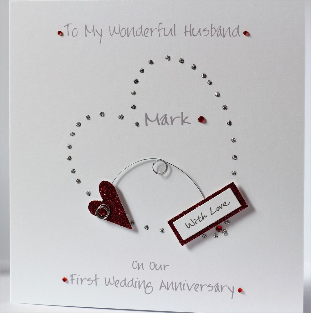 LOVELY PERSONALISED HANDMADE FIRST WEDDING ANNIVERSARY 3d HEART CARD NEW