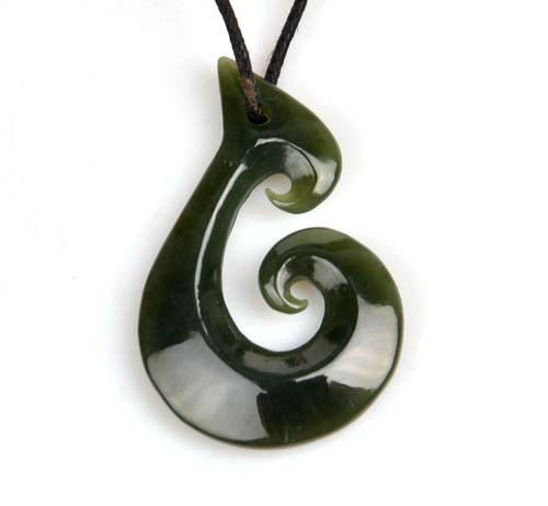 New zealand maori style natural nephrite jade fish hook for Jade fish hook necklace