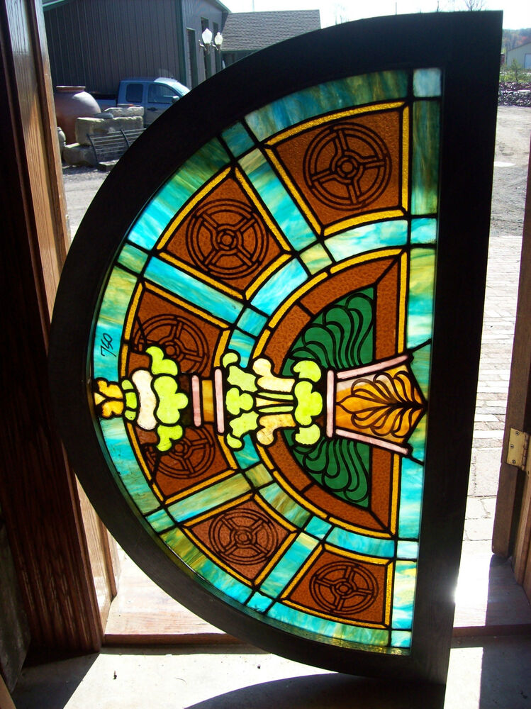 Arched transom window w center column design stained for Window design center