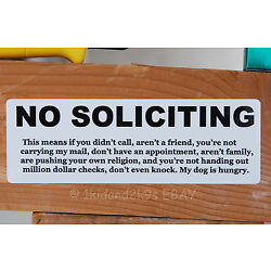 No Soliciting Solicitors sales trespassers sign signs decal sticker funny