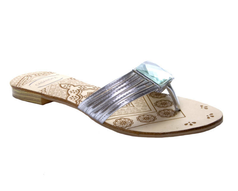 Womens Silver Gem Flat Wedding Prom Sandals Shoes Ladies