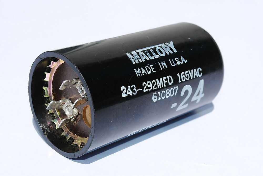 Mallory 243 292mfd motor start capacitor 165 volts ac for Motor start capacitor test