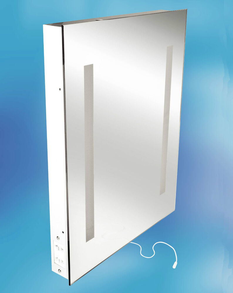 ILLUMINATED BATHROOM MIRROR AND SHAVER SOCKET 500mm X 390mm 60mm IP44 RATED