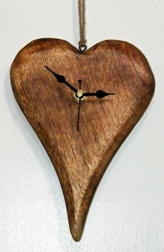 New wooden heart hanging wall clock shabby chic rustic for Wooden heart wall decor