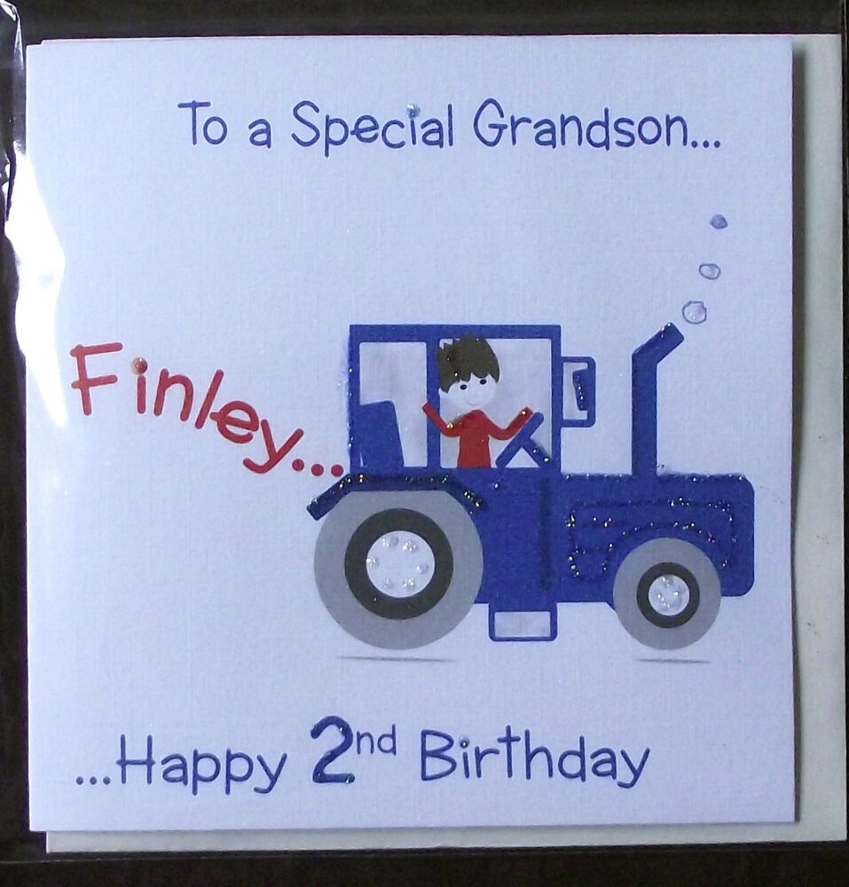 PERSONALISED HANDMADE TRACTOR BIRTHDAY CARD.GRANDSON,SON