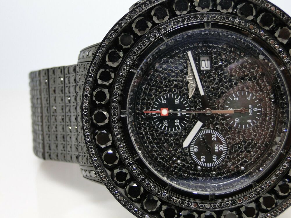 iced out 52 ct mens new breitling super avenger black
