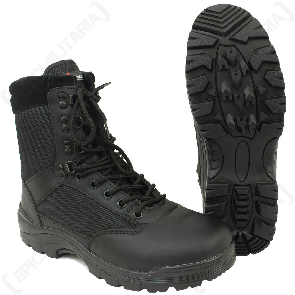 black tactical army boot with ykk zipper cadets