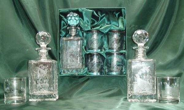 Engraved Polish Crystal Decanter Set | eBay