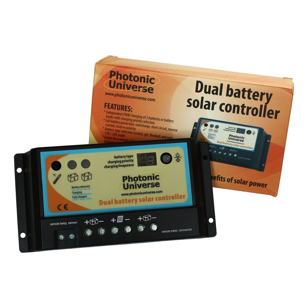 Dual Battery 10a Solar Panel Charge Controller Regulator