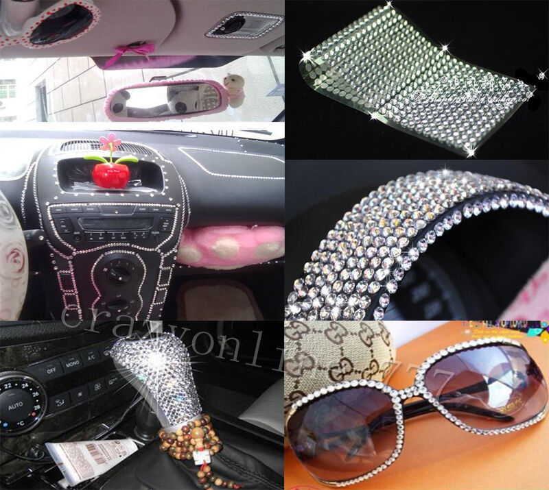 2016pcs auto car bling crystals diamonds interior exterior silvery stickers ebay. Black Bedroom Furniture Sets. Home Design Ideas
