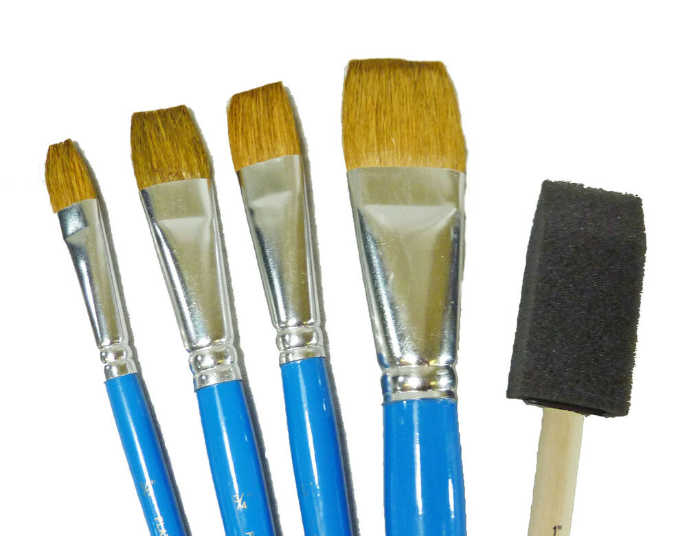 21207 plaid oil acrylic flat craft tole paint brushes for Oil or acrylic