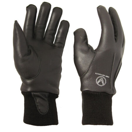 img-Dark Brown Leather US A10 Gloves - USAAF All Sizes American WW2 Flight Star Wing