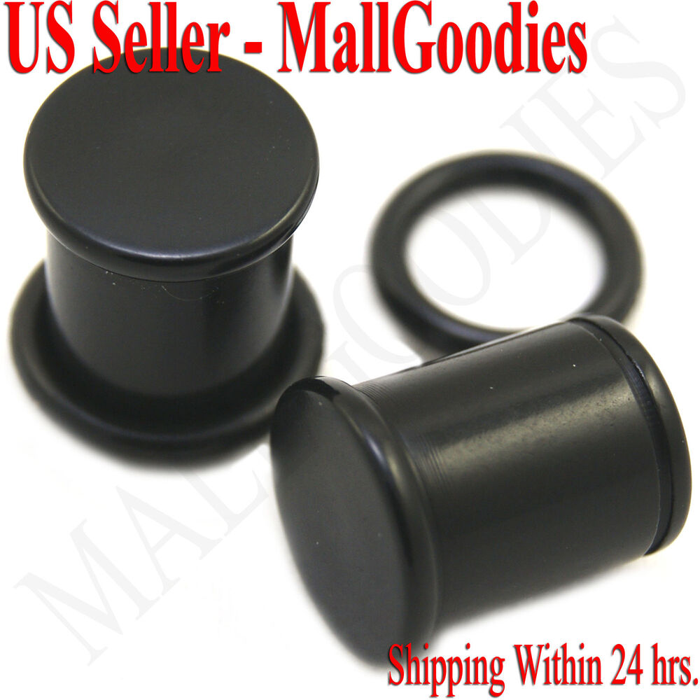 0935 Black Acrylic Single Flare Ear Plugs 00 Gauge 00G ...