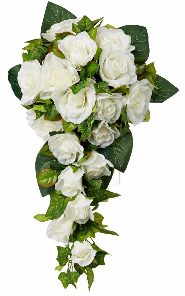 silk wedding bouquets ivory silk cascade silk bridal wedding bouquet ebay 7418