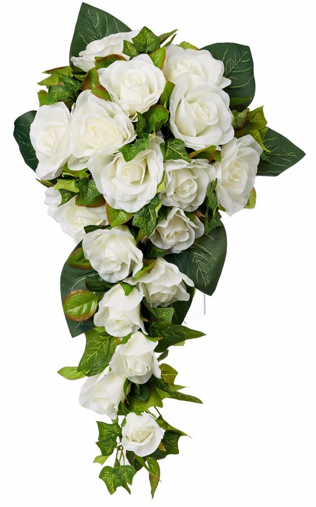 silk rose wedding bouquets ivory silk cascade silk bridal wedding bouquet ebay 7413