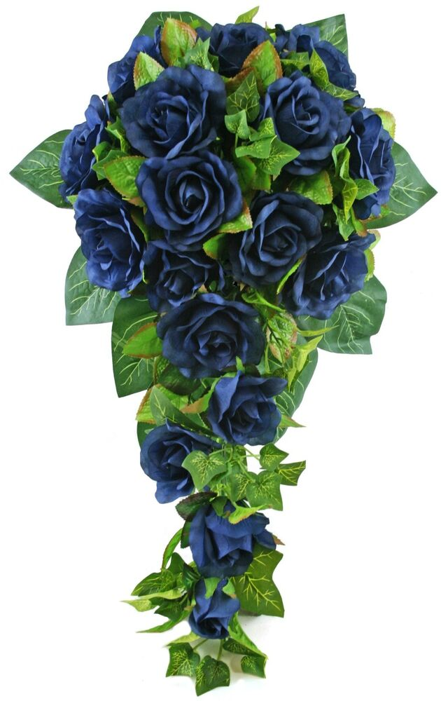 wedding bouquets with roses navy silk cascade bridal wedding bouquet ebay 8543