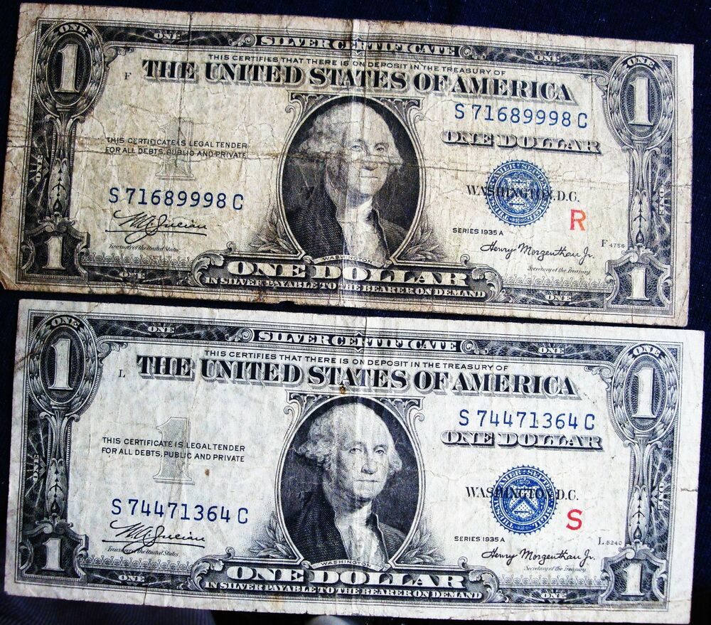 1935 A Series Silver Certificates Withred Rs Surcharge Fr 1609r
