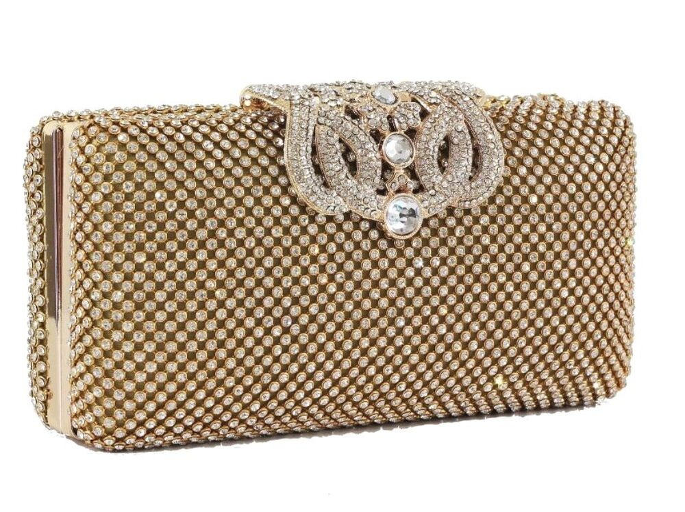 NEW WOMENS SPARKLY GLITTER CLUTCH BAG SILVER GOLD BRIDAL ...  Formal Gold Clutches