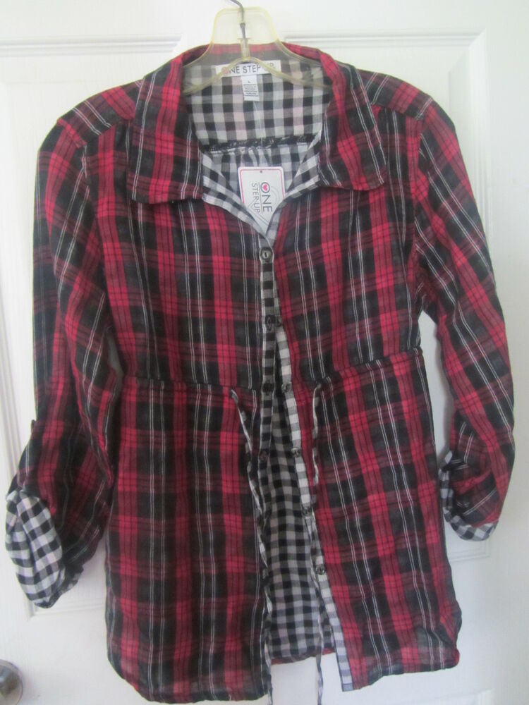 One step up plaid flannel shirt junior girls tie waist in for Green and black plaid flannel shirt