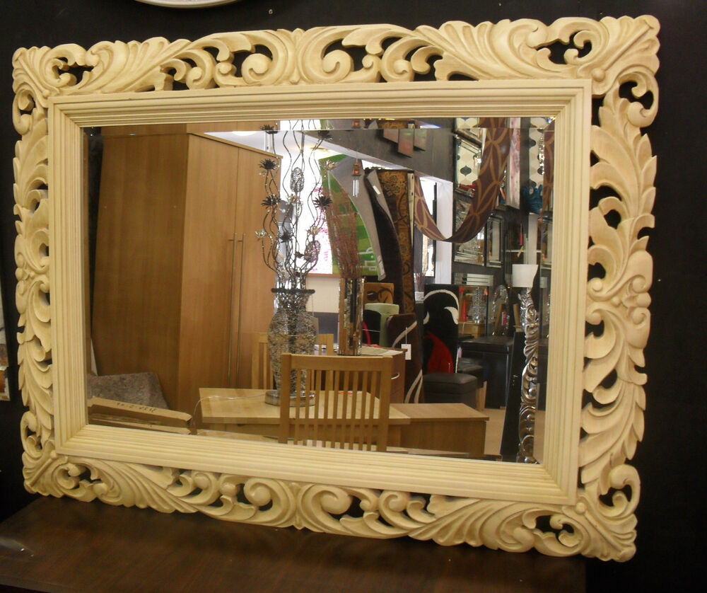 Large renaissance brushed cream ornate bevelled wall for Large wall mirror wood frame