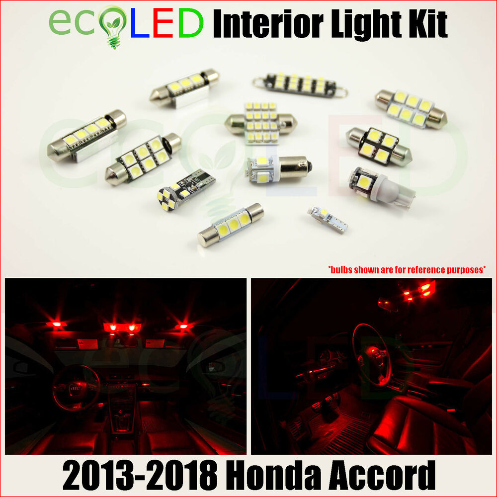 white interior led 12v light bulb package honda accord 4 door sedan 2008 2012 ebay. Black Bedroom Furniture Sets. Home Design Ideas