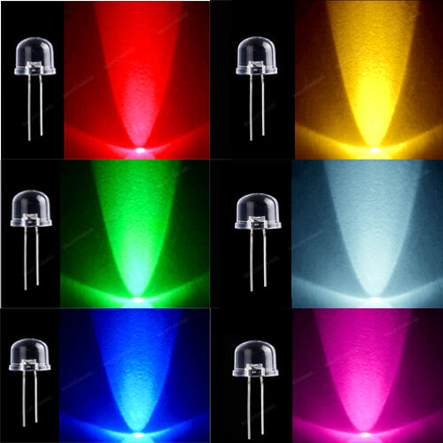 Total 60pcs Led Light Lamp 10mm Red Green Blue Yellow