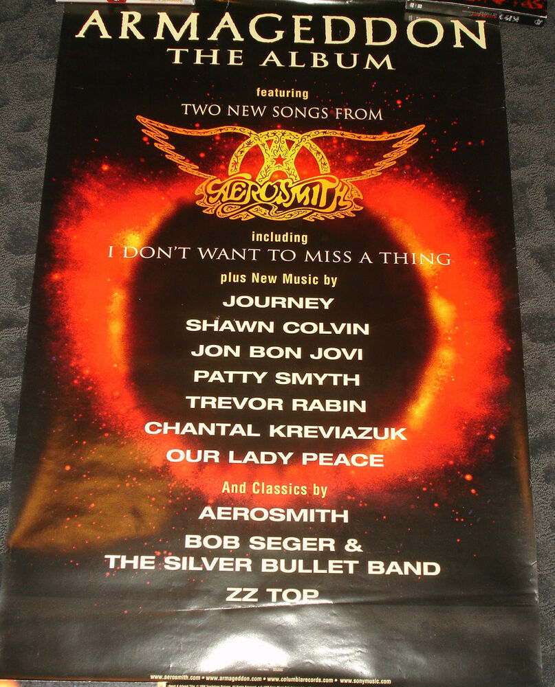 armageddon movie soundtrack promo poster aerosmith