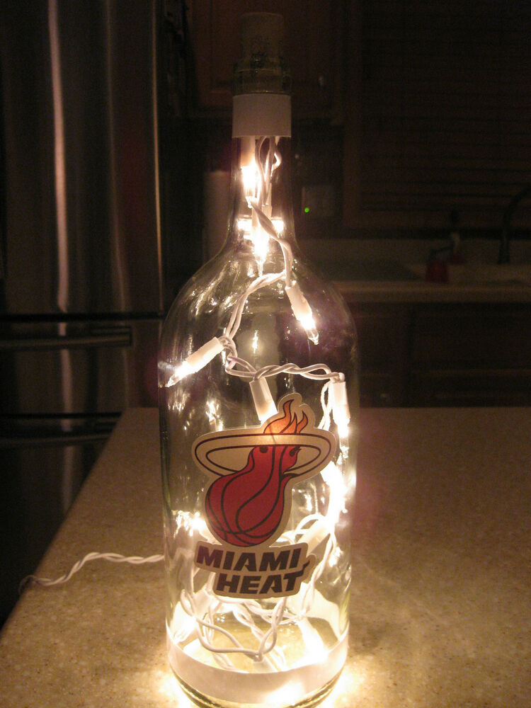 Miami heat nba lighted wine bottle man cave bar night for Lighted wine bottle craft