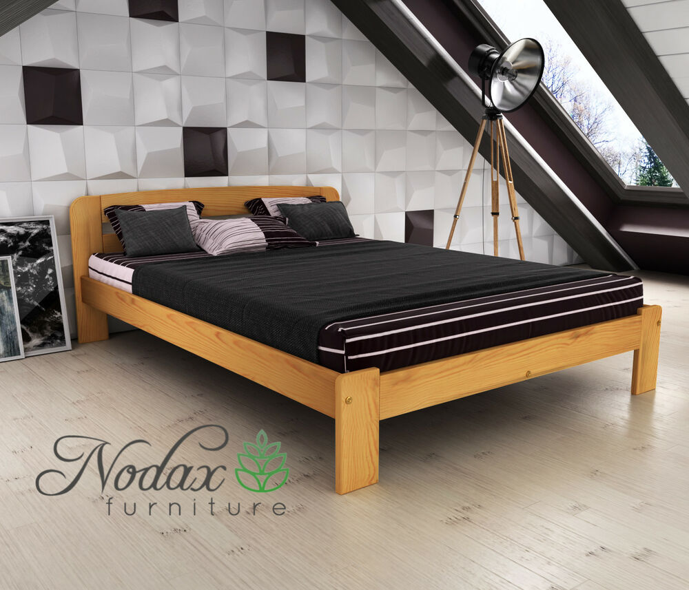 nodax wooden furniture solid pine small double bed 4ft. Black Bedroom Furniture Sets. Home Design Ideas