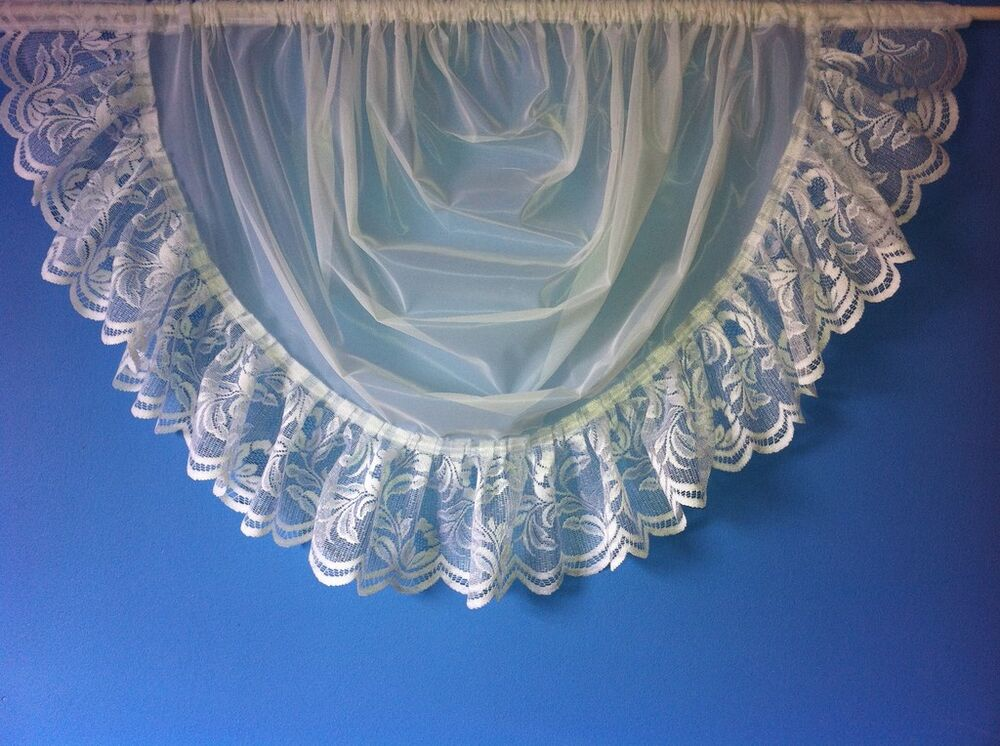 White Voile Net Curtain Swag Trimmed With 6 Quot Lace Ebay