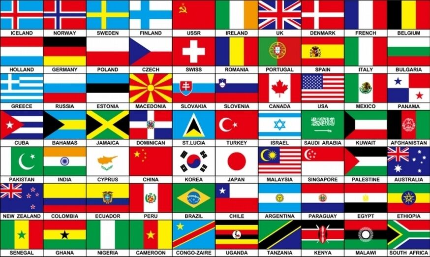 70 NATIONS COUNTRIES FLAG 5X3 FEET Africa Europe America INTERNATIONAL FLAGS | eBay